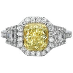 2.28 Carat Fancy Yellow Radiant Cut Diamond Engagement Ring