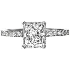 1.85 Carat Radiant Cut Diamond Engagement Ring on 18 Karat White Gold