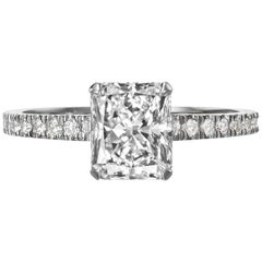 1.75 Carat Radiant Cut Diamond Engagement Ring on 18 Karat White Gold