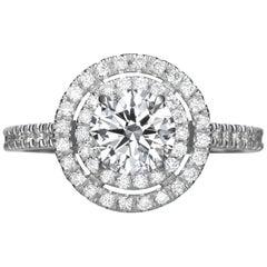 1.77 Carat Round Brilliant Cut Diamond Engagement Ring on 18 Karat White Gold
