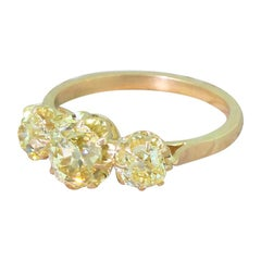 Art Deco 1.83 Carat Fancy Intense Yellow Old Cut Diamond Trilogy Ring