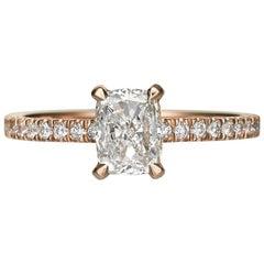 1.55 Carat Cushion Cut Diamond Engagement Ring on 18 Karat Rose Gold