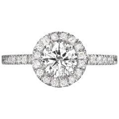 1.56 Carat Round Cut Diamond Engagement Ring on 18 Karat White Gold