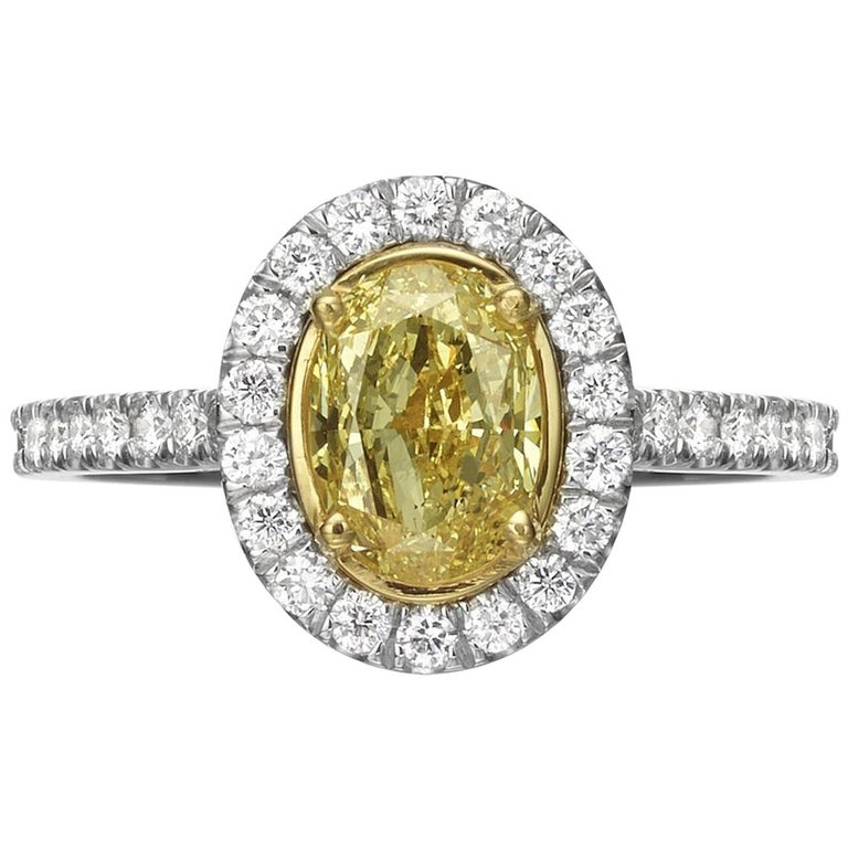 1.55 Carat Fancy Yellow Oval Cut Diamond Engagement Ring