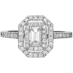 1.15 Carat Emerald Cut Diamond Engagement Ring on 14 Karat White Gold