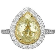 2.50 Carat Fancy Yellow Pear Shaped Diamond Engagement Ring
