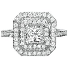 1.87 Carat Princess Cut Diamond Engagement Ring on 14 Karat White Gold