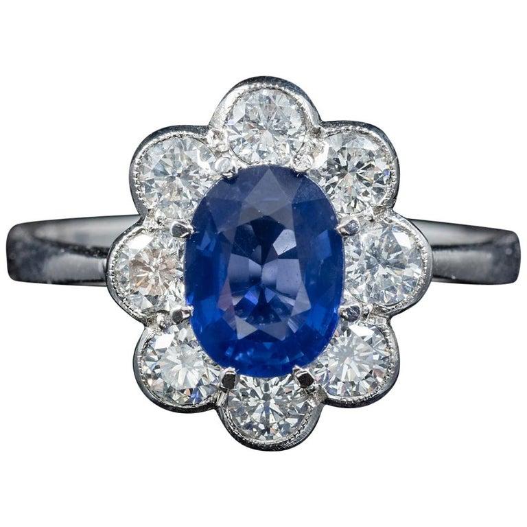 Antique Edwardian Sapphire Diamond Ring Platinum, circa 1915