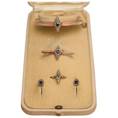 Antique Russian Sapphire and Diamond Marquise Suite