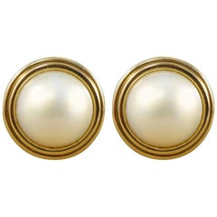 Vintage Mabe Pearl Earrings in Yellow Gold