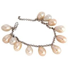 Natural Freshwater Pearls Dangling Bracelet 14 Karat