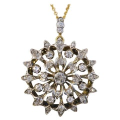 Antique Late Victorian Diamond Floral Pendant on 15 Carat Gold Chain