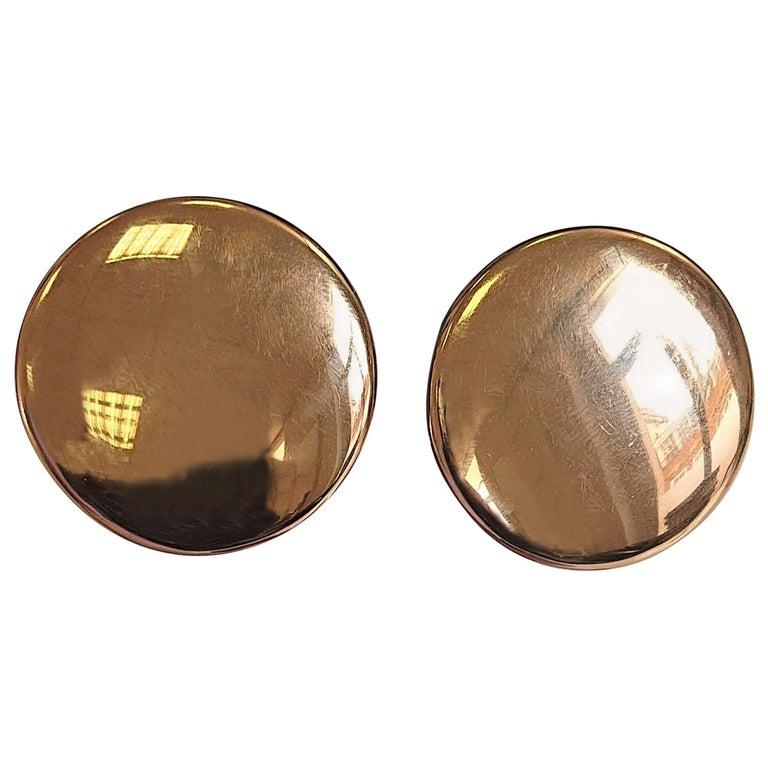 Vhernier 18 Carat Yellow Gold Disc Ear Clips