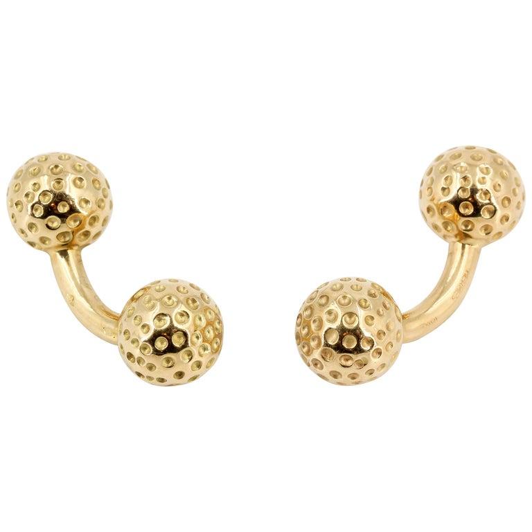 Hermès 18 Karat Gold Golf Ball Dumbbell Cufflinks