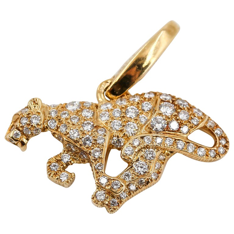 Cartier Panther Diamond and 18 Karat Yellow Gold Charm For Sale