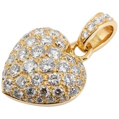 Cartier Diamond 18 Karat Gold Heart Shaped Pendant