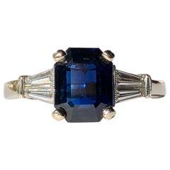 Blue Sapphire Emerald Cut 2ct Trapezoid Diamond Shoulders .50ct 18k White Gold