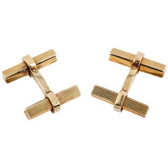 Boucheron 18 Karat Gold Square Bar Cufflinks