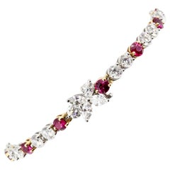 Tiffany & Co. Ruby, Diamond, Platinum and 18 Karat Gold Victoria Bracelet