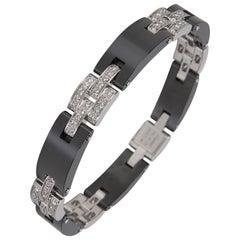 Cartier Maillon Panthere Diamond & Ceramic Bracelet in 18K White Gold 1.68 Carat