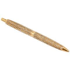 French 18 Karat Two-Tone Gold Basket Weave Ballpoint Purse Pen
