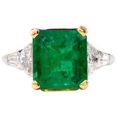 Emerald Halfmoon & Baguette Diamond Platinum Ring