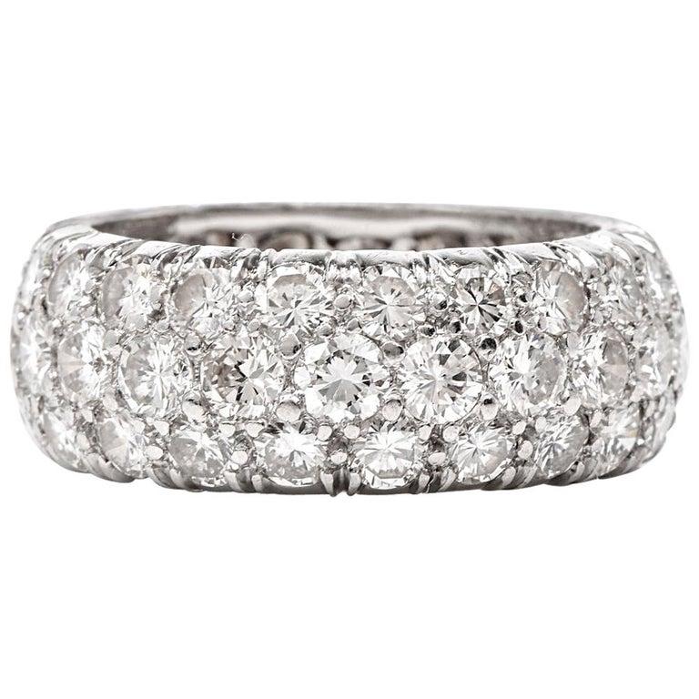 Diamond Cluster Eternity Platinum Band Ring