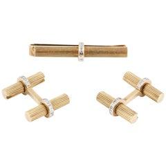 Cartier Square Cut Diamond and 14 Karat Gold Bar Cufflinks and Tie Bar Set