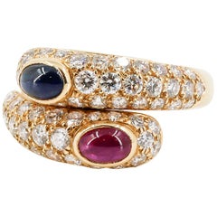 Cartier Sapphire Ruby Diamond and 18 Karat Gold Ring