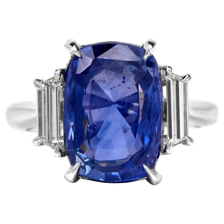 Natural No Heat Ceylon Sapphire Trapezoid Diamond Platinum Ring For Sale