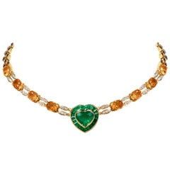 1980s Emerald Heart Diamond Citrine 18 Karat Yellow Gold Choker Necklace