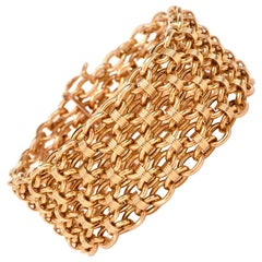 1980s Cartier Wide Yellow Gold Fancy Link French Bracelet