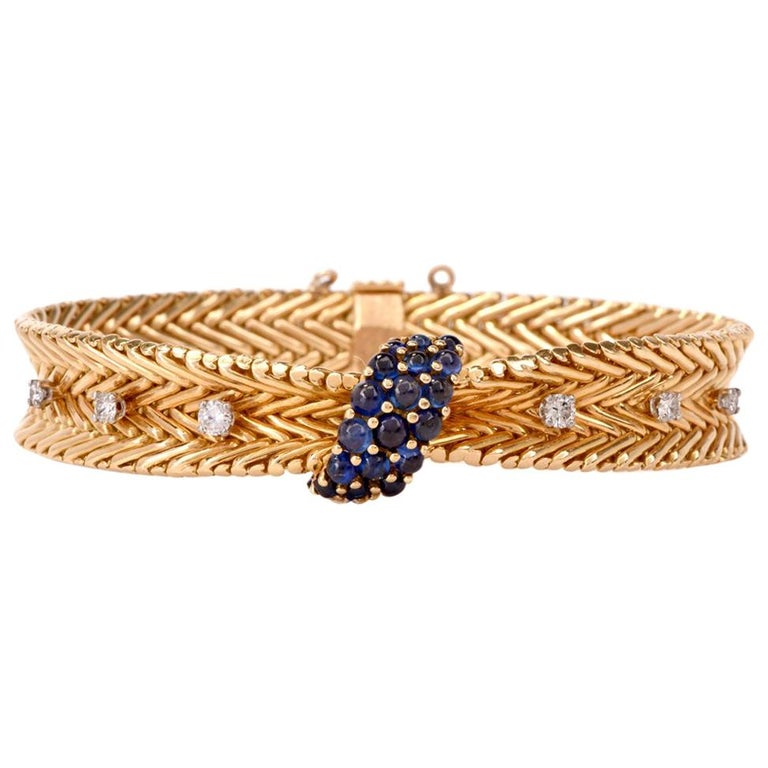 Vintage Sapphire Diamond Gold Woven French Bracelet