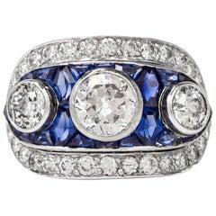 Vintage Diamond Sapphire Platinum Ring