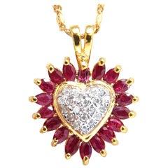 1.20 Carat Natural Ruby and Diamonds Heart Necklace 14 Karat