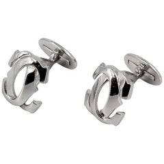 "Cartier 18 Karat White Gold Double ""C"" Logo Cufflinks"