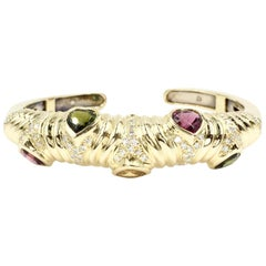 18 Karat Gold Cuff Bracelet with Diamonds and Semi-Precious Heart Shape Stones