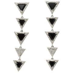 Diamond and Onyx Triangle Drop Earrings