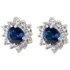 Tiffany & Co. Sapphire and Diamond Halo Earrings in Platinum
