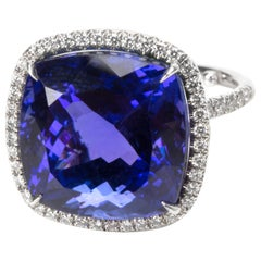 Tiffany & Co. Soleste Tanzanite and Diamond Halo Ring in Platinum 18.14 Carat