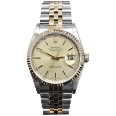 Rolex 16233 Datejust Champagne Dial 18 Karat Yellow Gold and Stainless Steel