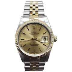Rolex Datejust 16233 18 Karat Yellow Gold and Stainless Steel Champagne Dial