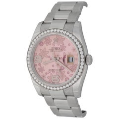 Rolex Pink Flowers Stainless Steel Datejust Automatic Wristwatch Ref 116244