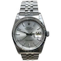 Rolex Datejust 16234 Stainless Steel and 18 Karat Gold Bezel Box Papers Mint