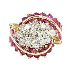 Vintage Ruby and Diamond 14 Karat Gold Cocktail Ring