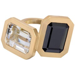 Wendy Brandes Emerald Cut Black Spinel and Rock Crystal Gold Statement Ring