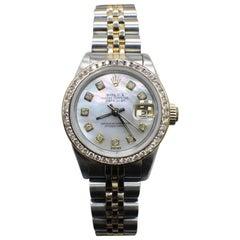 Rolex 69173 Ladies Datejust MOP Diamond Dial 18 Karat Gold and Stainless Steel