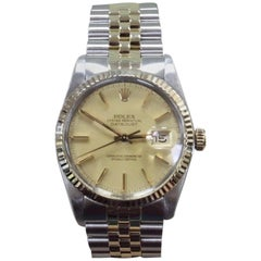 Rolex Datejust 16013 14 Karat Gold and Stainless Steel Mint Band Box and Papers