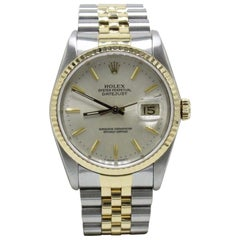 Rolex Datejust 16233 18 Karat Yellow Gold and Stainless Steel Silver Dial