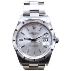 Rolex Date 15210 Stainless Steel Turned Engine Bezel Silver Dial Box and Papers